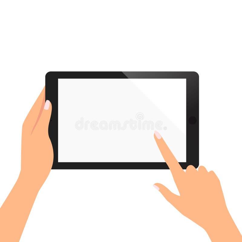 Ręka kobieta chwyt pastylka i wskazywać na pustym ekranie obrazy royalty free