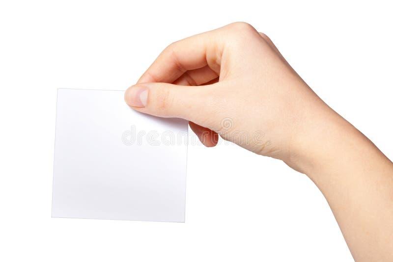 Ręka kobiety target222_1_ pustego papieru etykietkę zdjęcia royalty free