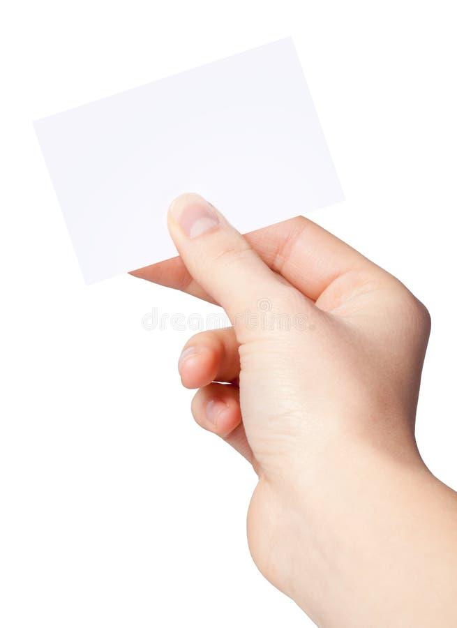 Ręka kobiety target283_1_ pustego papieru etykietkę obrazy royalty free