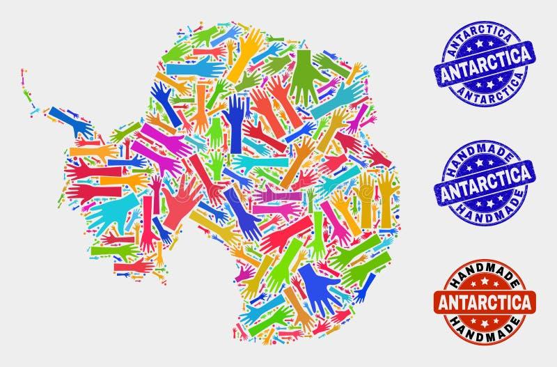 Ręka kolaż Antarctica kontynentu mapa i Grunge Handmade znaczki ilustracji