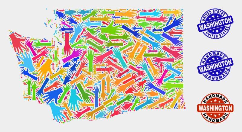 Ręka kolaż stan washington mapa i cierpienie Handmade foki ilustracja wektor