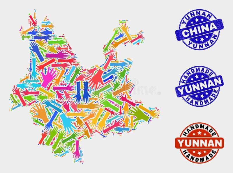 Ręka kolaż Yunnan prowincji mapa i cierpienie Handmade znaczki ilustracji
