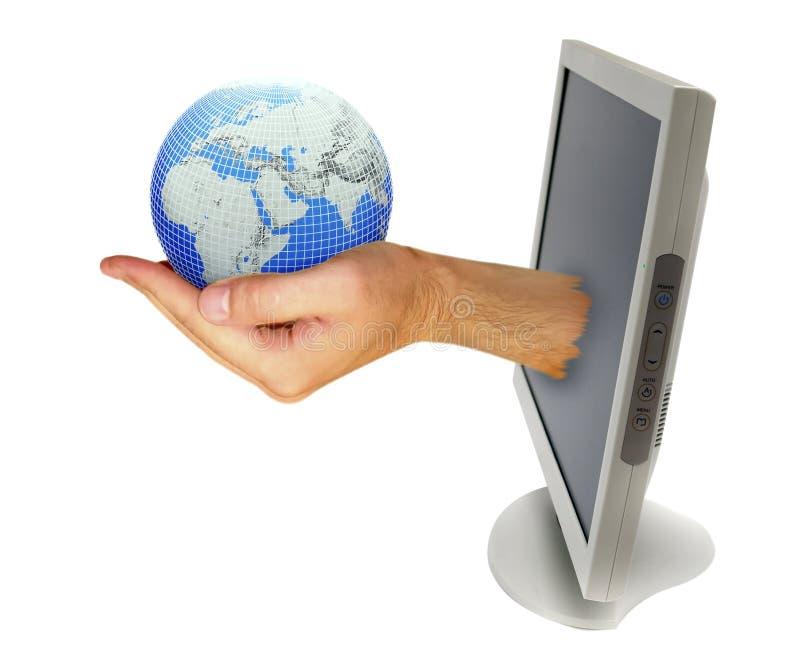 ręka komputerowy monitor obraz stock