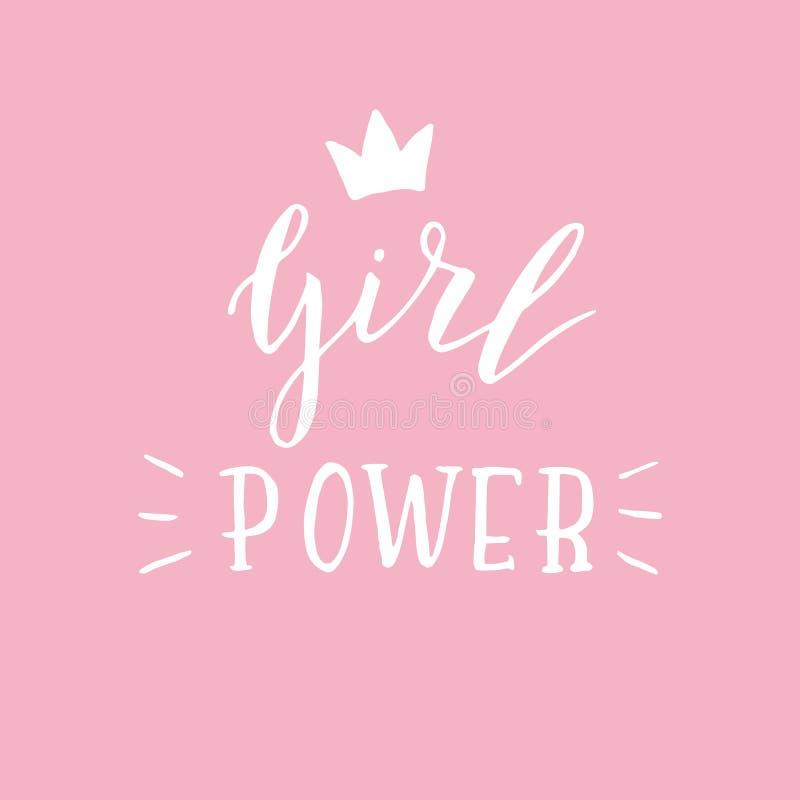 Ręka kreśląca dziewczyny władzy wycena Nowo?ytny literowania feministka plakat ilustracji