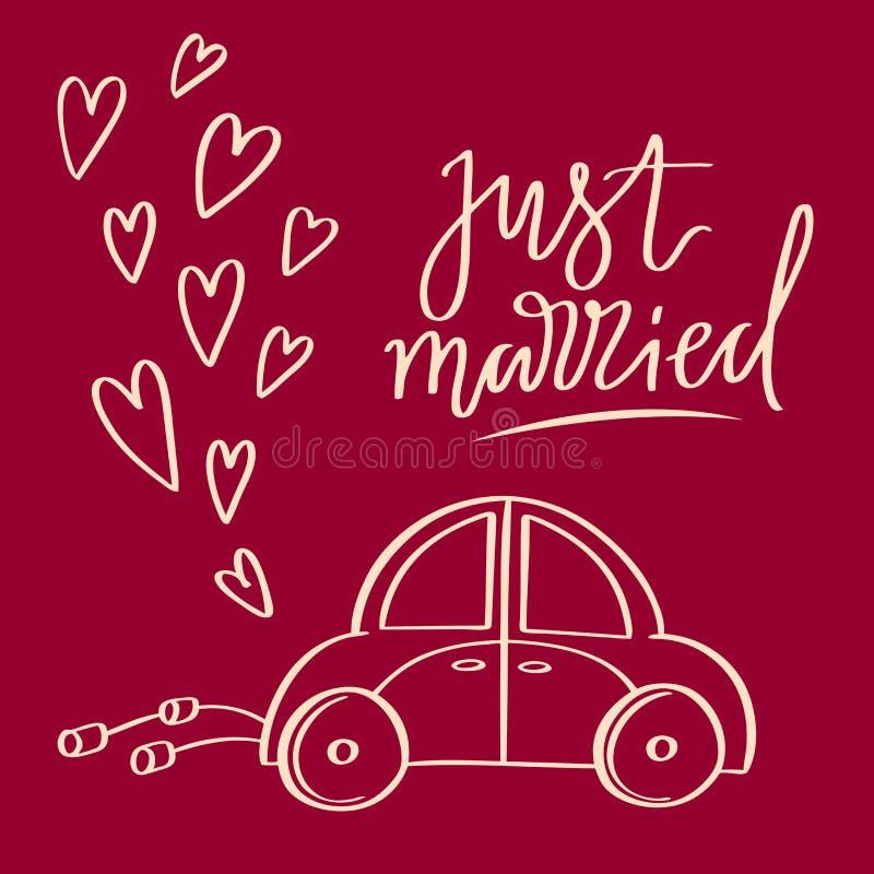 Ręka kreślił wektorowego ślubnego symbol Właśnie zamężny literowanie i samochód fotografia stock
