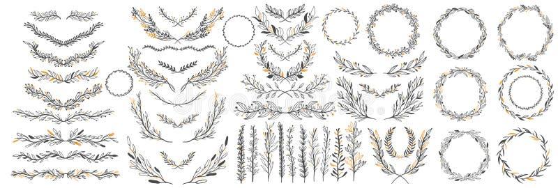 Ręka kreślił wektorowych roczników elementy: wianek, liście, rama Doskonalić dla zaproszeń, kartka z pozdrowieniami, wycena, blog ilustracja wektor