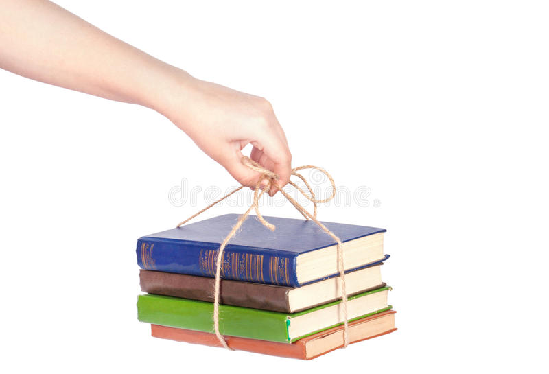 ręka książkowy daje stos zdjęcie royalty free