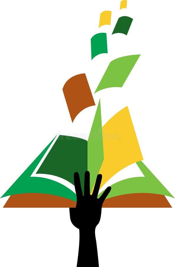 Ręka książkowy logo ilustracji