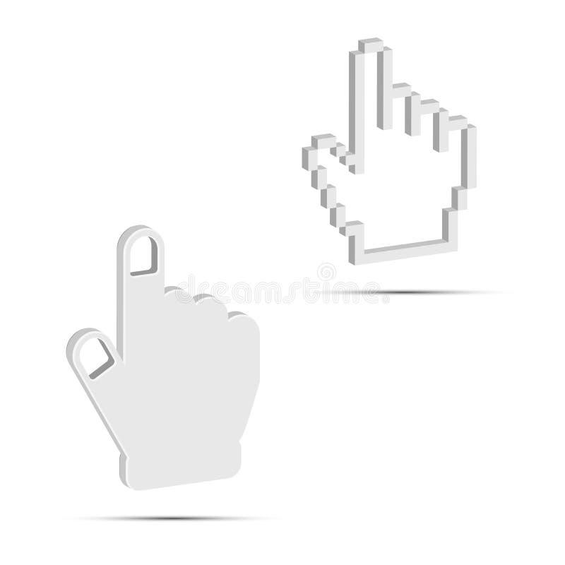 Ręka kursoru 3D wektoru ikony Gładkie i piksel Białe wektoru ręki Projektów elementy Ustawiający dla Was Projektują royalty ilustracja