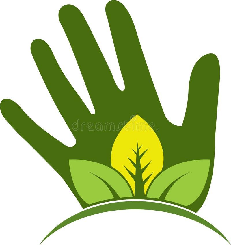 Ręka liścia logo royalty ilustracja
