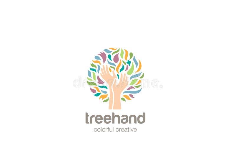 Ręka loga projekta Drzewny wektor Pomaga dobroczynność logo royalty ilustracja