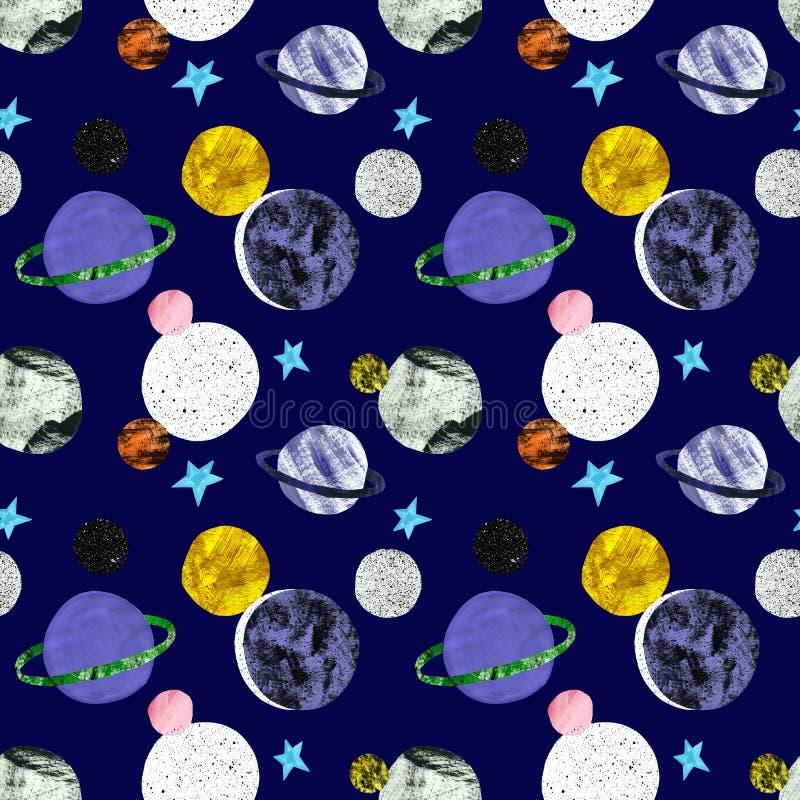 Ręka malował astronautycznego bezszwowego wzór z gwiazdami i planetami na zmroku - błękitny tło Kosmosy drukują z satelitami Sci  ilustracja wektor