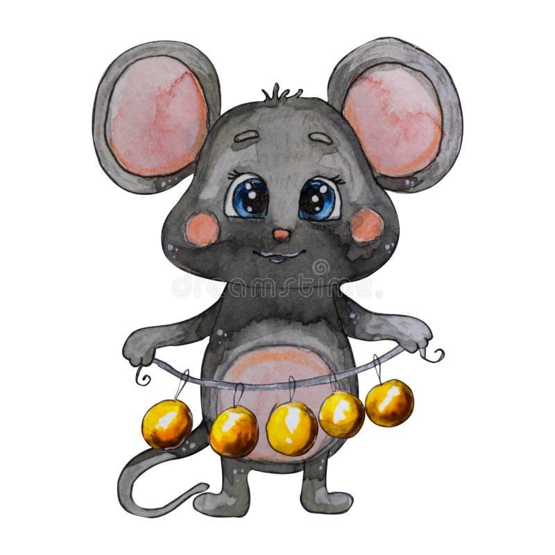 Ręka malująca akwareli mysz Chiński rok mysz royalty ilustracja