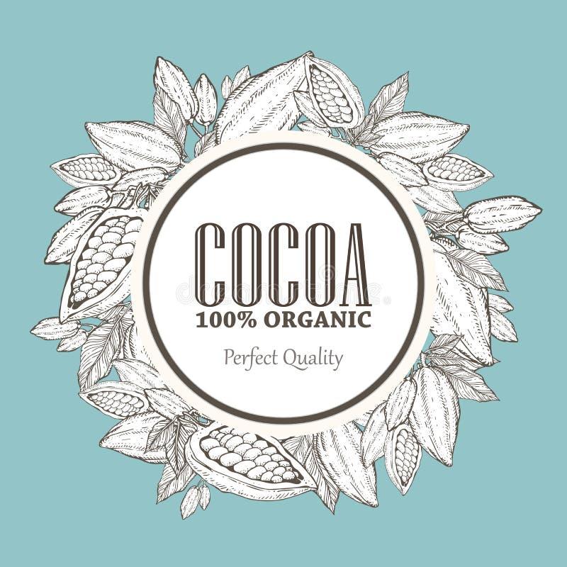 Ręka malująca kakaowa wianek botaniki ilustracja Dekoracyjny doodle zdrowy odżywki jedzenie ilustracja wektor