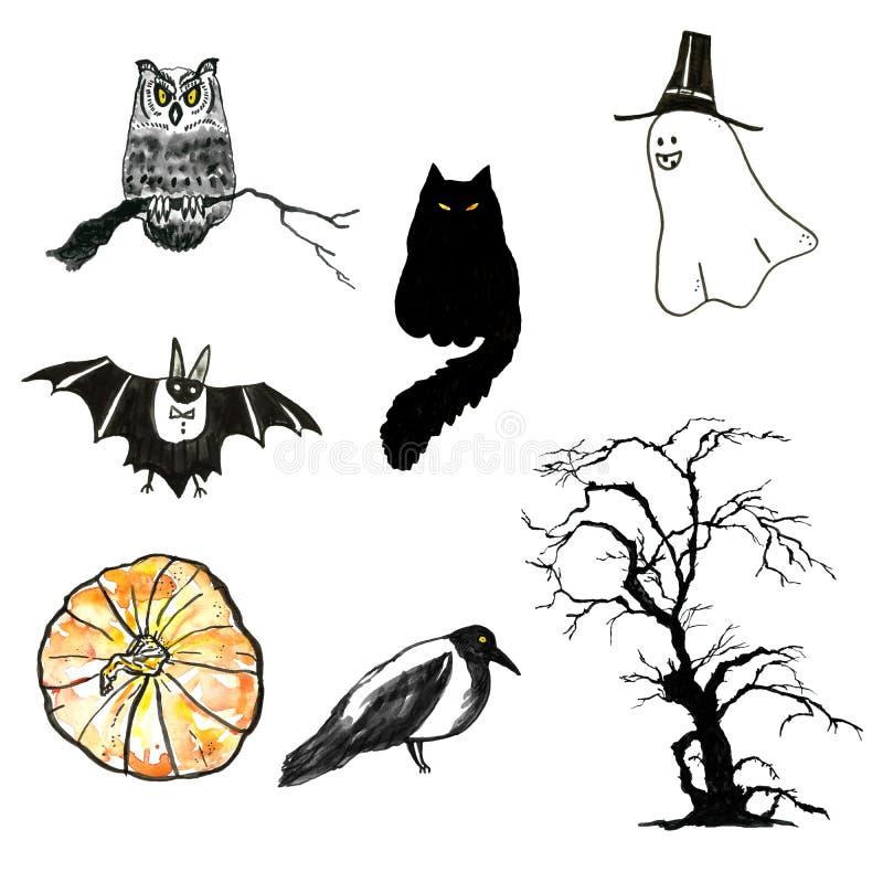 Ręka malujący akwarela Duzi Halloweenowi elementy ustawiający Halloweenowi charaktery ilustracji