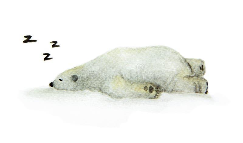 Ręka malujący akwarela niedźwiedź polarny Śliczny sypialny zwierzęcy projekt - Spać białego niedźwiedzia royalty ilustracja