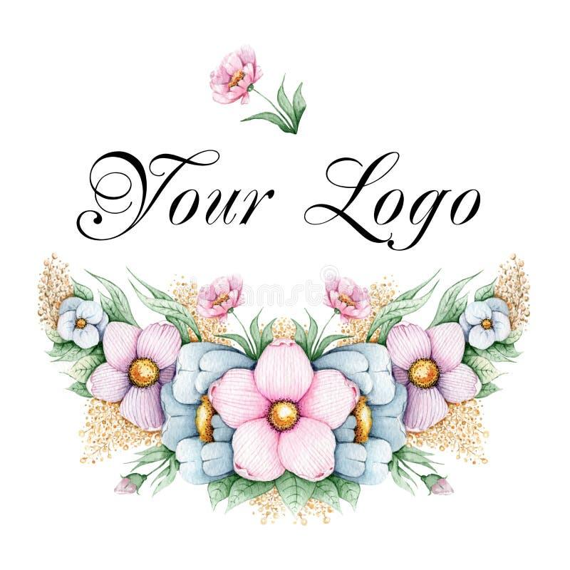Ręka malujący kwiecisty logo royalty ilustracja