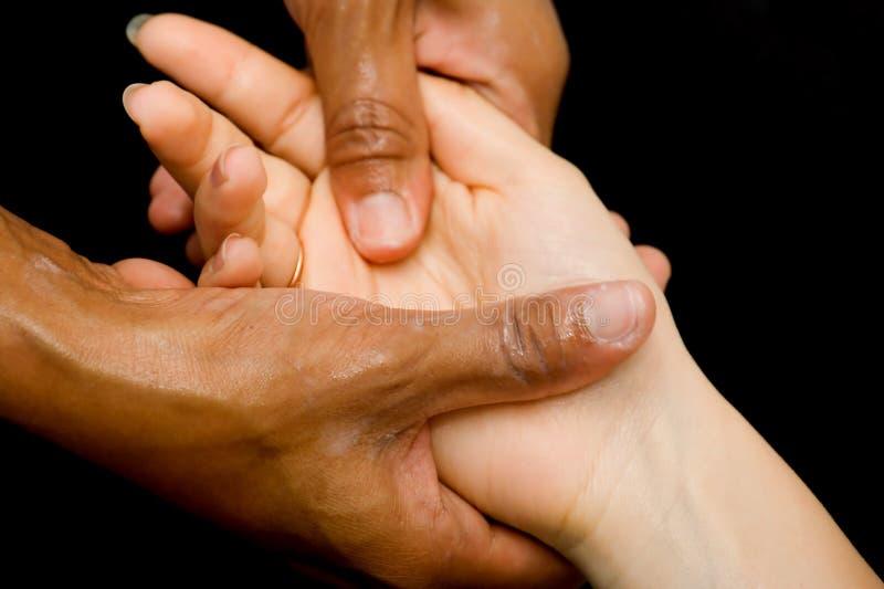 ręka masażu oleju zdjęcie stock