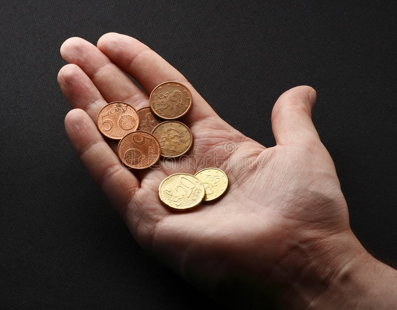 ręka monety. fotografia royalty free