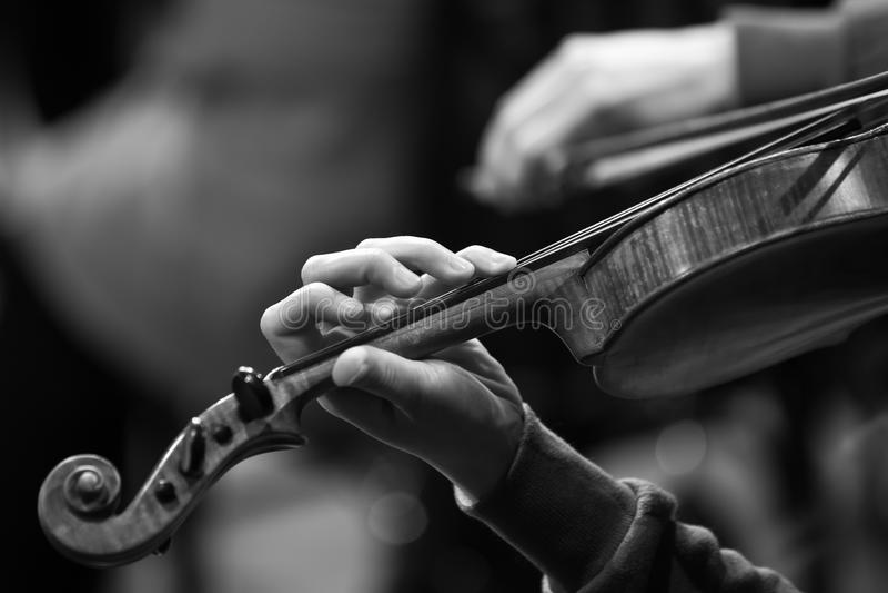 Ręka muzyk na sznurkach skrzypce fotografia stock
