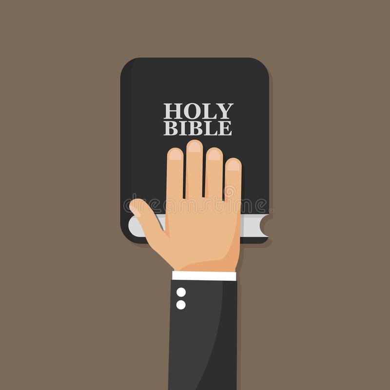 Ręka na biblii Płaska ikona ilustracja wektor