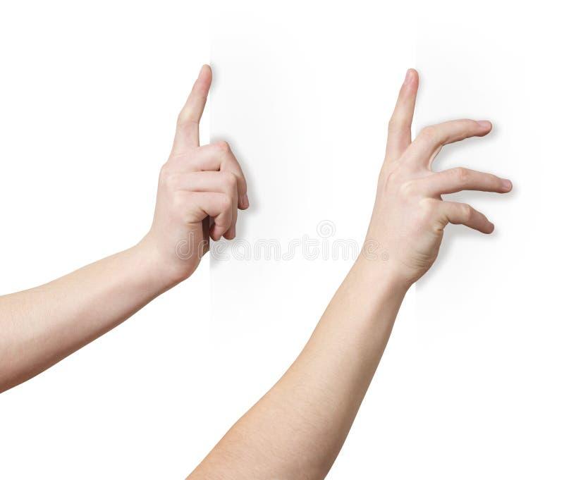 Ręka na krawędzi zdjęcia stock