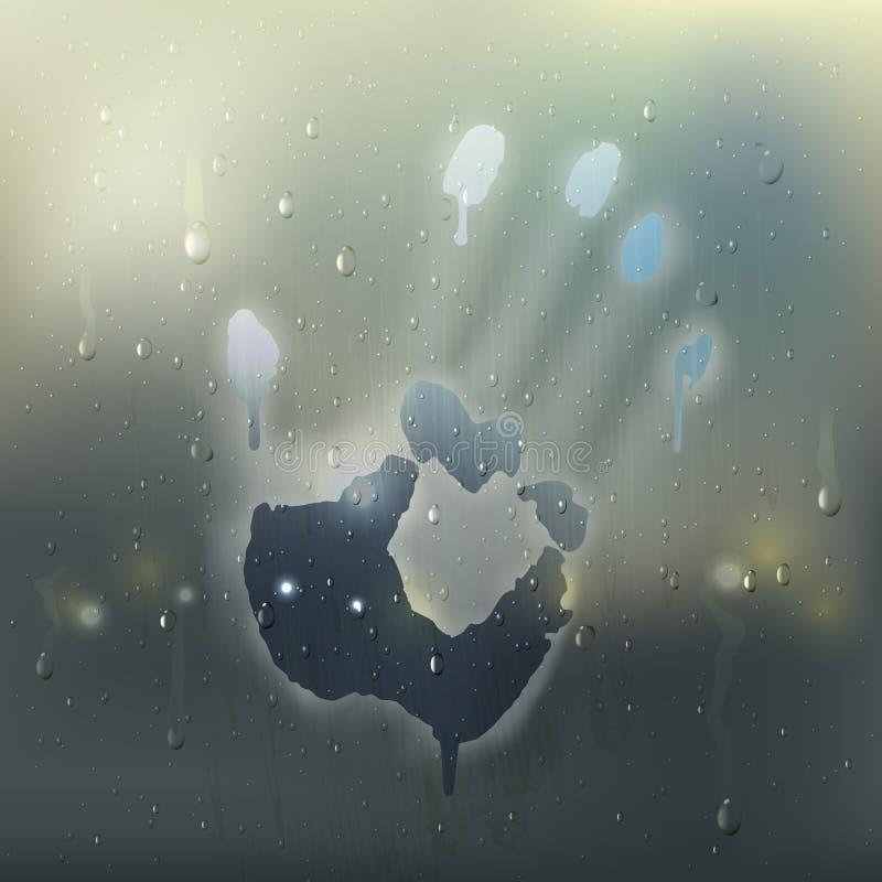 Ręka Na Zaparowywającym Szklanym Realistycznym składzie ilustracji