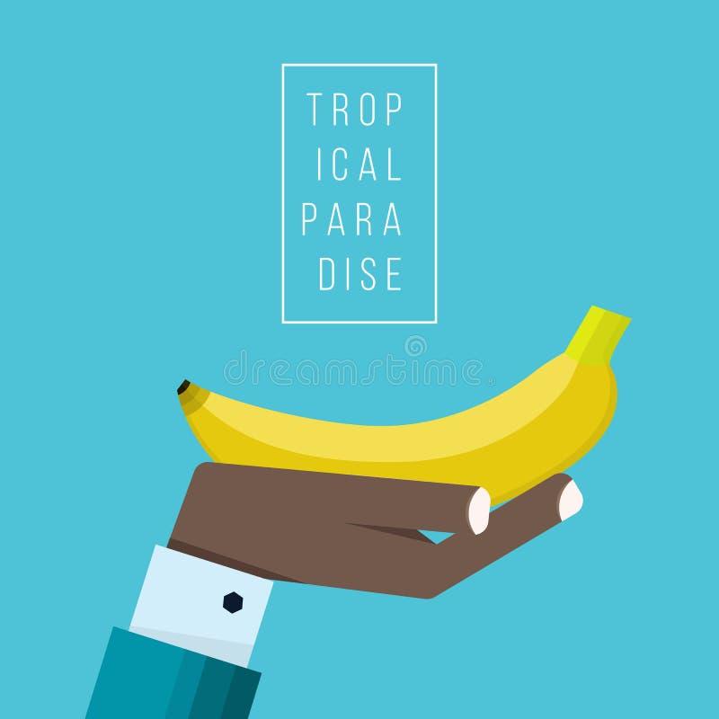 Ręka negroid biznesmen trzyma bananową ikonę royalty ilustracja