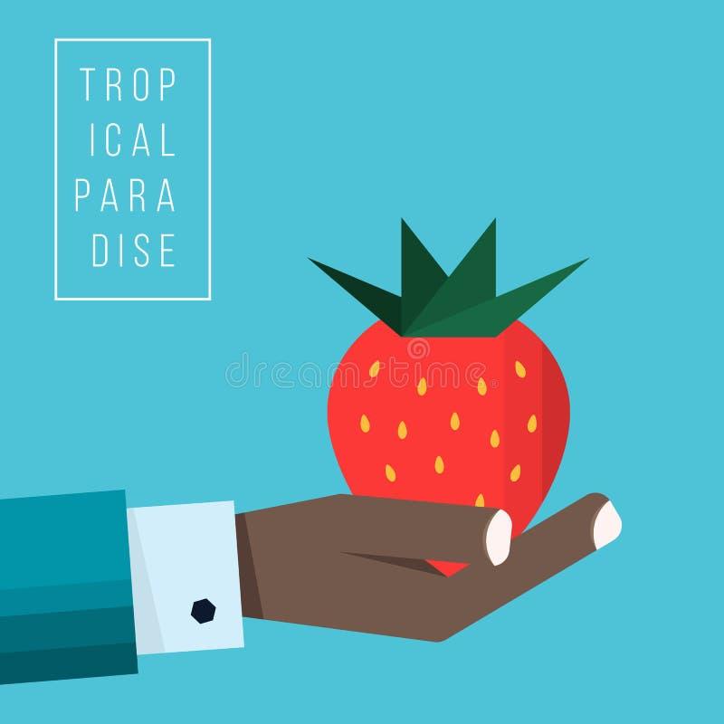 Ręka negroid biznesmen trzyma truskawkową ikonę ilustracji