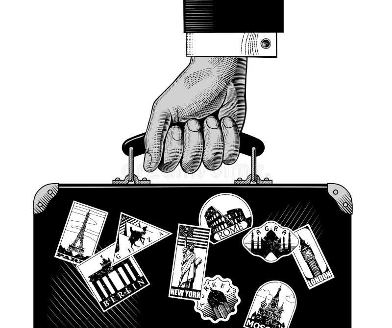 Ręka niesie bagaż z punktami zwrotnymi podróżuje etykietki ilustracja wektor