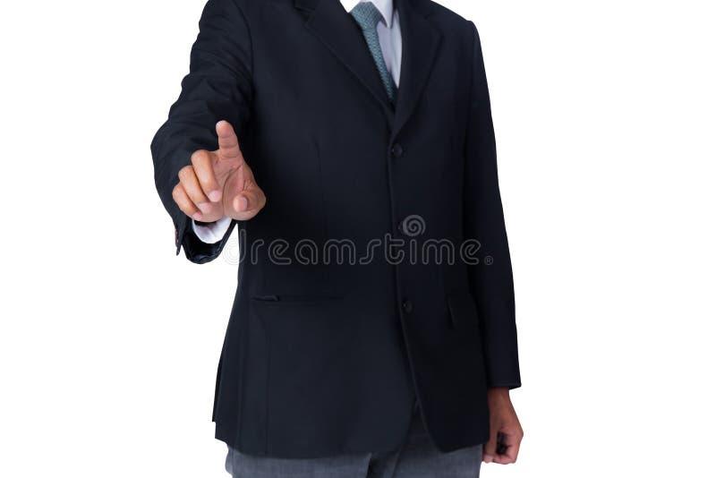 ręka odizolowywający mężczyzna ekran target4399_1_ wirtualnego biel obraz royalty free