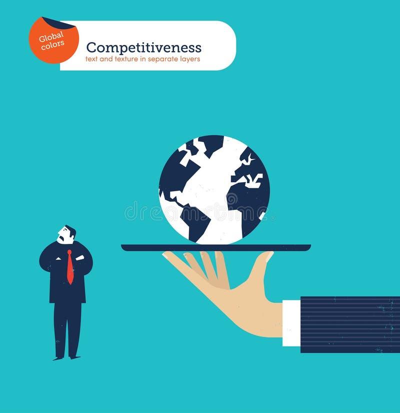 Ręka oferuje biznesmenowi całego świat no ciekawi ilustracji