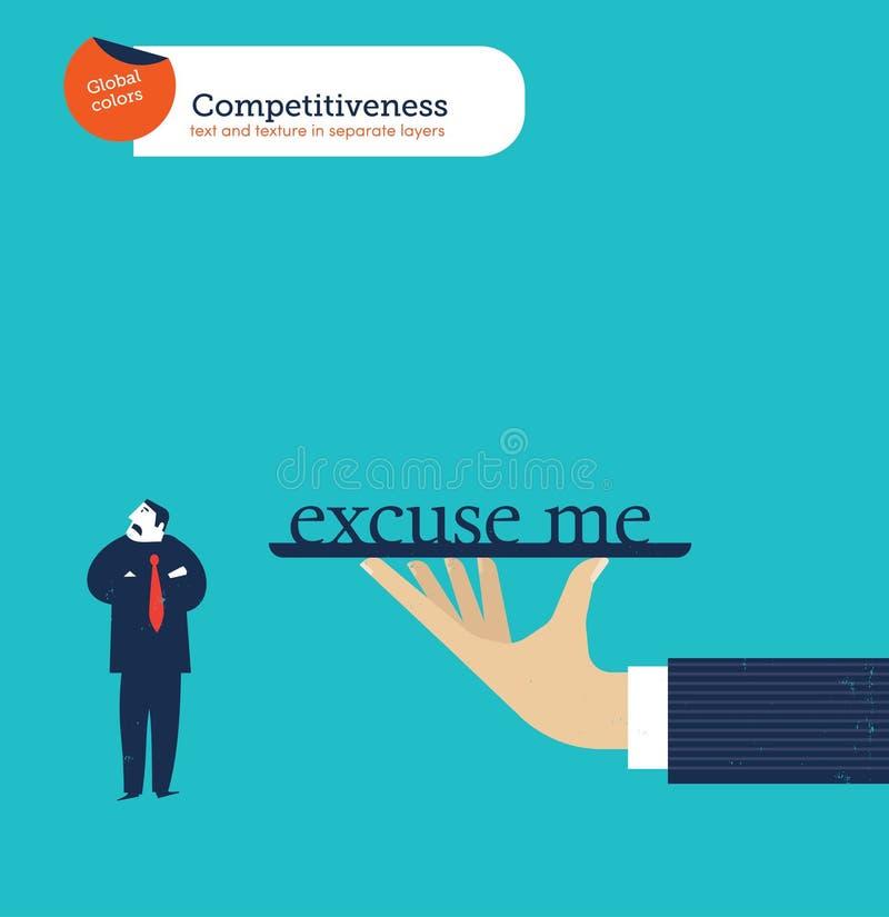 Ręka oferuje biznesmenowi całego świat no ciekawi ilustracja wektor