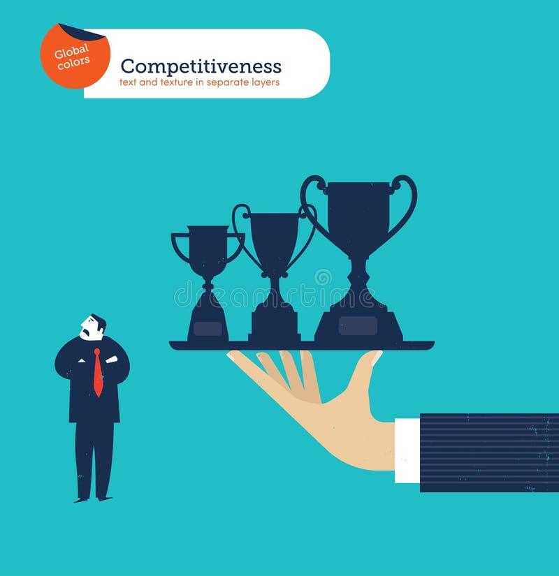 Ręka oferuje biznesmenowi trofea i go no ciekawi ilustracja wektor