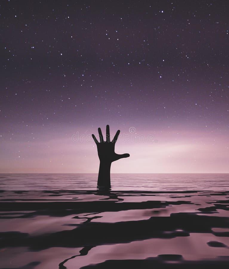 Ręka osoby tonięcie w morzu royalty ilustracja
