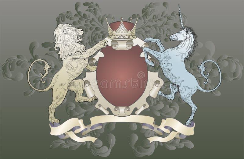 ręka płaszcza jednorożca lwa ilustracja wektor