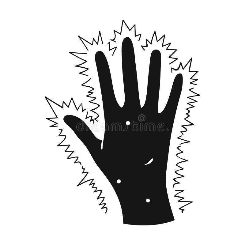 Ręka pacjent z cukrzycami Ręka z egzemą od cukrzyc Cukrzyce przerzedżą ikonę w czerń stylu wektoru symbolu ilustracja wektor