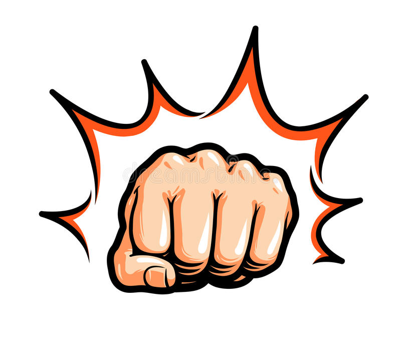 Ręka, pięść uderza pięścią lub uderza Komiczna wystrzał sztuka, symbol również zwrócić corel ilustracji wektora ilustracja wektor