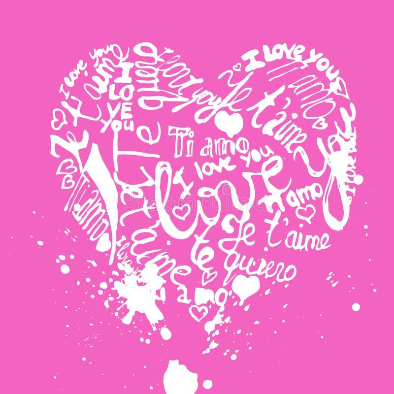 Ręka pisać kocham ciebie tekst w różnych językach, francuzie i włoszczyźnie Angielskich, Hiszpańskich -, ilustracji