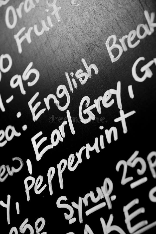 Ręka pisać kredowa menu deska uwypuklał słowa książe Popielatego promin obrazy stock
