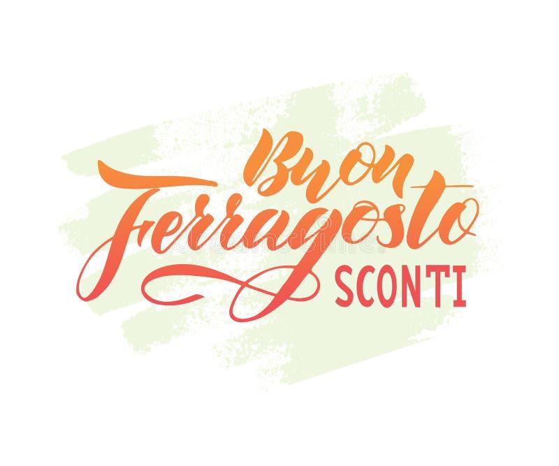Ręka pisać literowanie wycena Buon Ferragosto sprzedaży Szczęśliwy sconti na akwarela punkcie, włoski język ilustracji