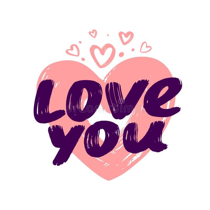 Ręka pisać miłość ty frazujesz Symbolu wektoru ilustracja ilustracji