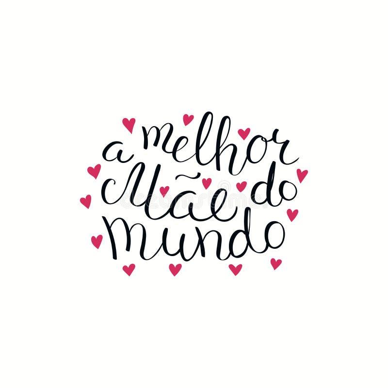Ręka pisać Najlepszy mama w światowej wycena w portugalczyku ilustracja wektor