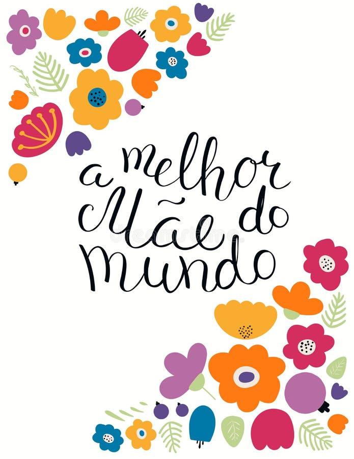 Ręka pisać Najlepszy mama w światowej wycena w portugalczyku royalty ilustracja
