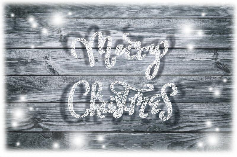 Ręka pisać nowego roku zwrot Kartka z pozdrowieniami tekst z płatkami śniegu fotografia royalty free