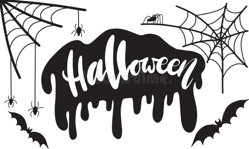 Ręka pisać piszący list Halloween Wektorowa ilustracja z siecią, pająk i nietoperze royalty ilustracja