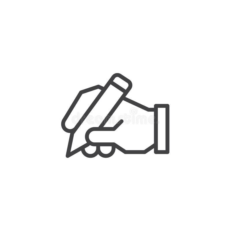 Ręka pisze kontur ikonie royalty ilustracja