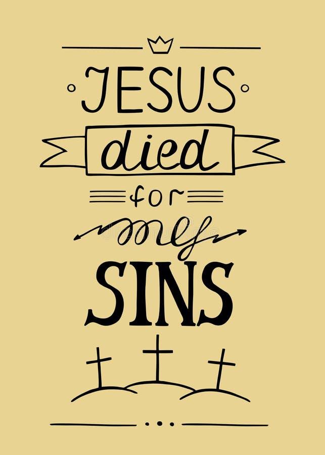 Ręka pisze list Jezus umierał dla mój grzechów ilustracja wektor