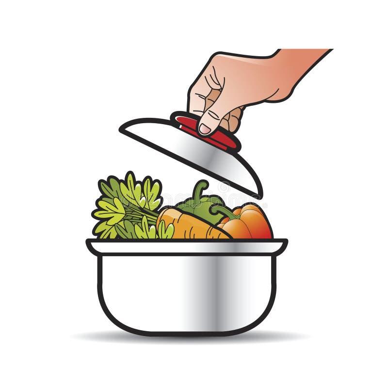 Ręka podnośny dekiel od jarzynowego rondla ilustracji