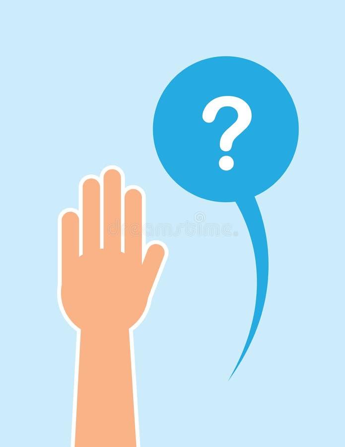 Ręka Podnoszący pytanie bąbel ilustracja wektor
